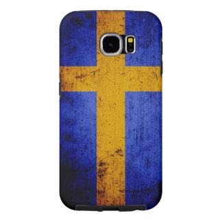 Black Grunge Sweden Flag Samsung Galaxy S6 Case