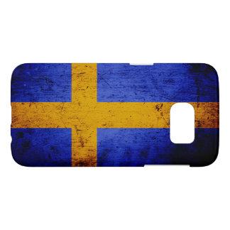 Black Grunge Sweden Flag Samsung Galaxy S7 Case