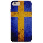 Black Grunge Sweden Flag Tough iPhone 6 Plus Case