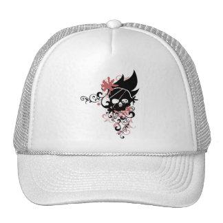BLACK GRUNGE SWIRL SKULL - RED MESH HATS