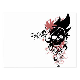 BLACK GRUNGE SWIRL SKULL - RED POSTCARD