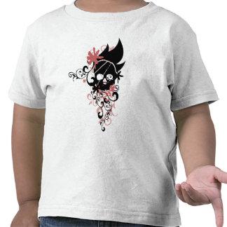 BLACK GRUNGE SWIRL SKULL - RED T SHIRT
