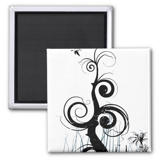Black Grunge Swirls With Bird - Blue Magnet