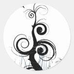 Black Grunge Swirls With Bird - Blue Round Stickers