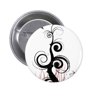 Black Grunge Swirls With Bird - Red Pinback Button