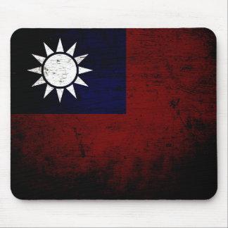 Black Grunge Taiwan Flag Mouse Pad
