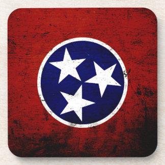 Black Grunge Tennessee State Flag Beverage Coaster