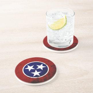 Black Grunge Tennessee State Flag Drink Coaster