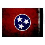 Black Grunge Tennessee State Flag Greeting Cards