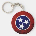 Black Grunge Tennessee State Flag Keychain