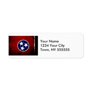 Black Grunge Tennessee State Flag Label