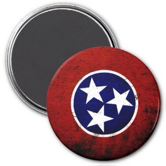 Black Grunge Tennessee State Flag Magnets