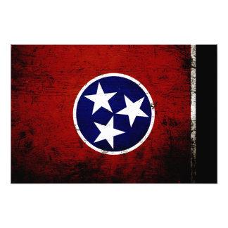 Black Grunge Tennessee State Flag Photo Print
