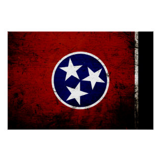 Black Grunge Tennessee State Flag Poster