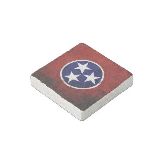 Black Grunge Tennessee State Flag Stone Magnet