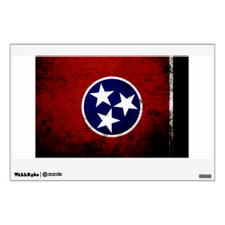 Black Grunge Tennessee State Flag Wall Decal