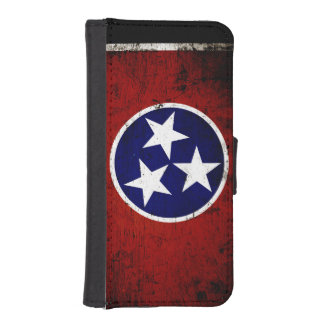 Black Grunge Tennessee State Flag Wallet Phone Case For iPhone SE/5/5s