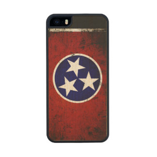 Black Grunge Tennessee State Flag Carved® Maple iPhone 5 Case