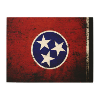 Black Grunge Tennessee State Flag Wood Wall Decor