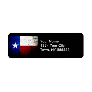 Black Grunge Texas State Flag Label