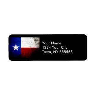 Black Grunge Texas State Flag Custom Return Address Label