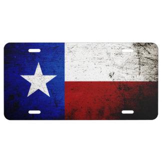 Black Grunge Texas State Flag License Plate