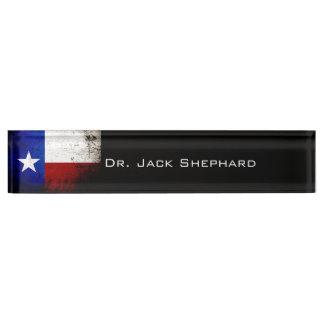 Black Grunge Texas State Flag Nameplate