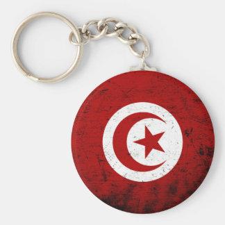 Black Grunge Tunisia Flag Keychain