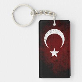 Black Grunge Turkey Flag Keychain