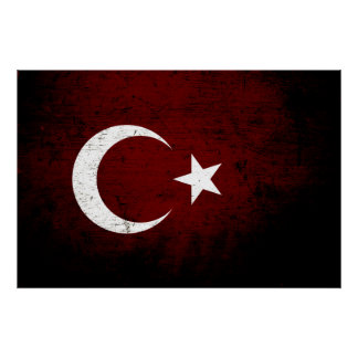 Black Grunge Turkey Flag Poster