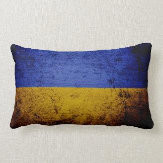 Black Grunge Ukraine Flag Lumbar Pillow