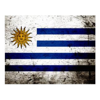 Black Grunge Uruguay Flag Postcards
