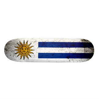 Black Grunge Uruguay Flag Skateboard Deck