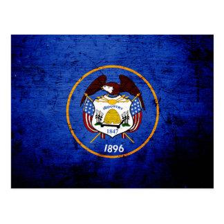 Black Grunge Utah State Flag Post Card