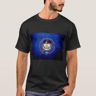Black Grunge Utah State Flag T-Shirt