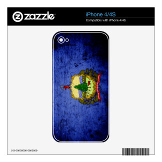 Black Grunge Vermont State Flag Decals For The iPhone 4S