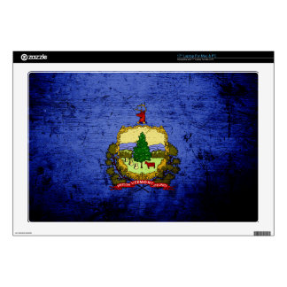 Black Grunge Vermont State Flag Laptop Decal