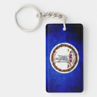 Black Grunge Virginia State Flag Keychain