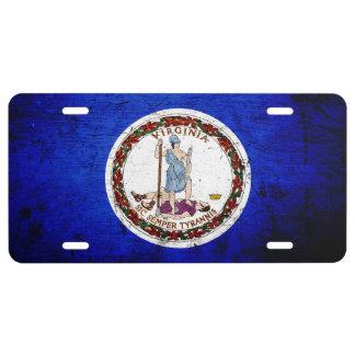 Black Grunge Virginia State Flag License Plate