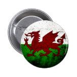 Black Grunge Wales Flag 2 Inch Round Button