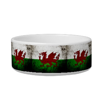 Black Grunge Wales Flag Bowl