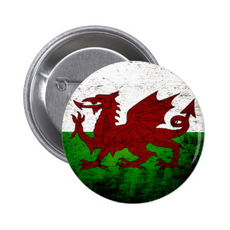 Black Grunge Wales Flag Button