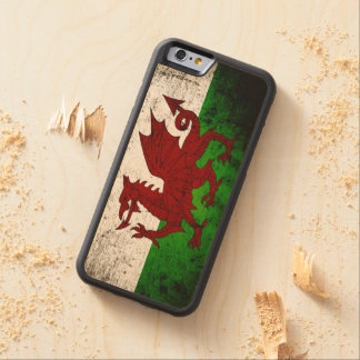 Black Grunge Wales Flag Carved Maple iPhone 6 Bumper Case