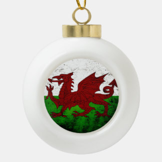 Black Grunge Wales Flag Ceramic Ball Christmas Ornament