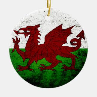 Black Grunge Wales Flag Ceramic Ornament