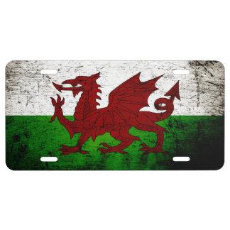 Black Grunge Wales Flag License Plate