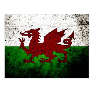 Black Grunge Wales Flag Postcard