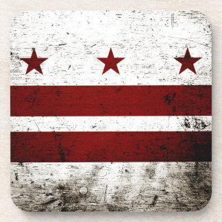 Black Grunge Washington DC Flag Beverage Coaster