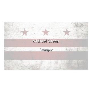 Black Grunge Washington DC Flag Business Card Template