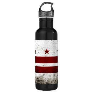 Black Grunge Washington DC Flag 24oz Water Bottle